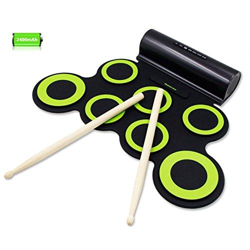 Rockpals Elektronisches Schlagzeug, Drum Set, Roll Up Schlagzeug Midi Drum Kit mit Kopfhörer und eingebaute Lautsprecher Drum Pedals und Sticks, bis zu 10St. Spielzeit, Weihnachtsgeschenk für Kinder