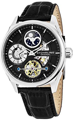 Orologio da polso originale Stuhrling elegante Dual Time in oro da uomo 21 gioielli 42 millimetri in acciaio inox cinturino in vera pelle rilievo posteriore esposto