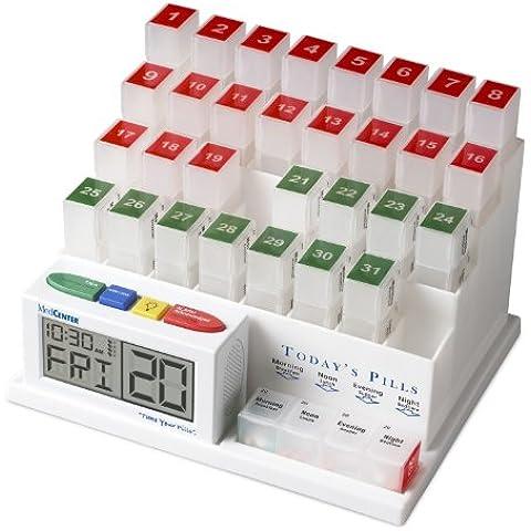 MedCenter System - Contenitore portapillole mensile con allarme acustico – un dispenser che vi aiuterà a prendere il farmaco giusto al momento giusto - Modello standard