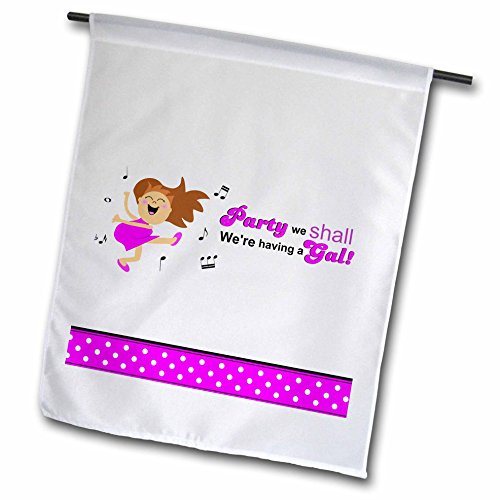 3dRose FL_120299_1 Party We Are Having a Gal-Hot Pink Girl Baby Shower Happpy Dance Cute Mom-to-be Cartoon Garden Flagge, 30,5 x 45,7 cm