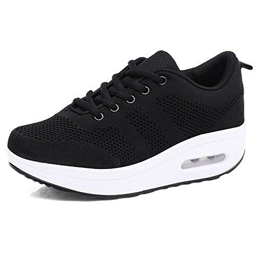 Damen Sneaker Bequeme Plateau Freizeitschuhe Frauen Fitness Sportschuhe Keilabsatz Mode Laufschuhe Leicht Turnschuhe Schwarz 36.5 EU = CN 37