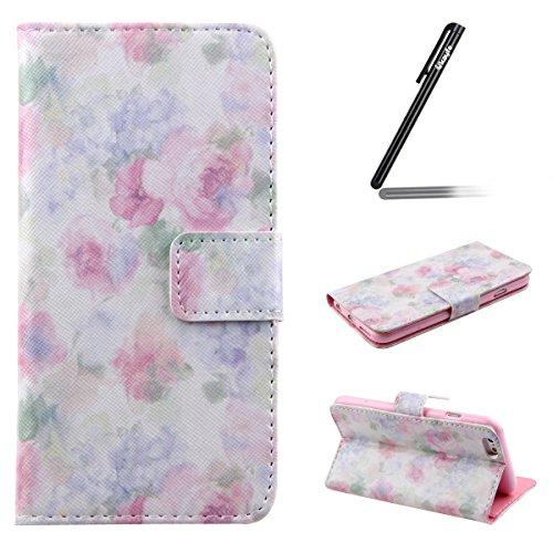 Ukayfe Custodia iPhone 6 Plus/6S Plus in Pelle, Portafoglio / wallet / libro Flip elegante e di alta qualità con porta carte di credito e banconote Stampa creativa Chiusura Magnetica Protettiva Cover  Pink Floral