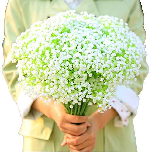 BlueXP 4 Stück Künstliche Schleierkraut Blumenstrauß Gypsophila Paniculata Blume Braut Hochzeitsblumenstrauß für Zuhause Haus Garten DIY Dekor Weiß (Haus Und Garten Dekor)
