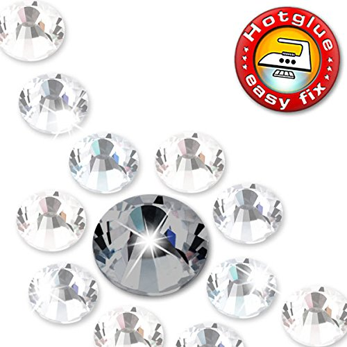 1400 Stück ShineStone DeLuxe - Hotfix, Farbe Black Diamond, SS16 (Ø ca. 3,9 mm), DMC Strass-Steine zum Aufbügeln (Stein Black Diamond)