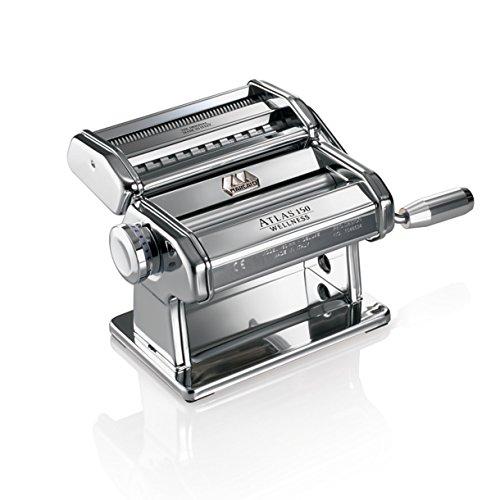 Marcato Atlas Pasta-Maschine, Edelstahl, silber, inkl. Pastaschneider, Handkurbel und Anleitung