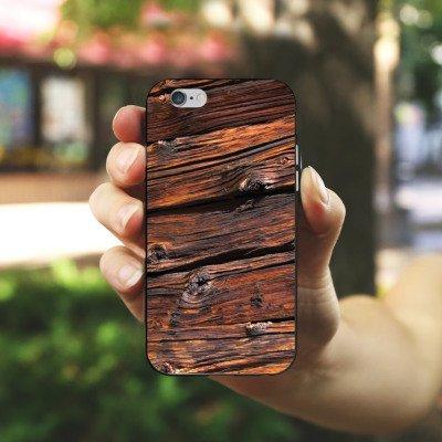 Apple iPhone X Silikon Hülle Case Schutzhülle Verwitterte Holzplanken Holz Look Holzboden Silikon Case schwarz / weiß