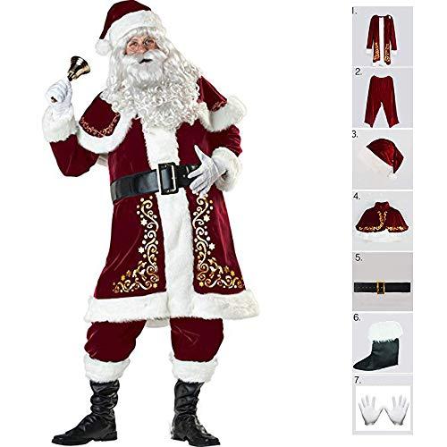 MIMI KING Christmas Santa Claus Kostüm Druck Polyester Für Erwachsene Männer Cosplay Party Kleid 7 Pcs,M (Mime Kostüm Leicht)