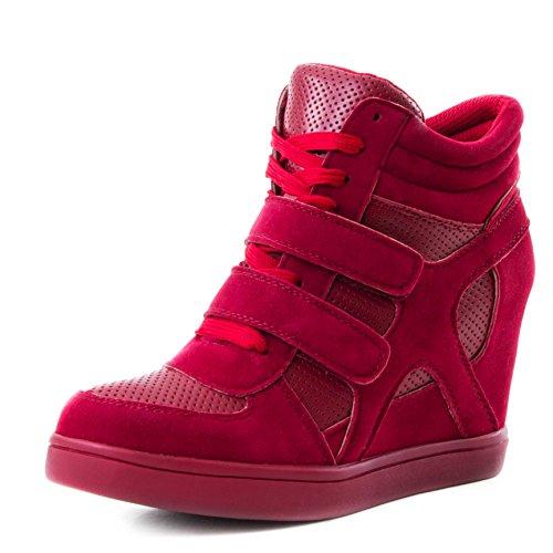 Stylische Damen Keilabsatz High Top Sneaker Wedges Klettverschluss Schuhe in Lederoptik Rot