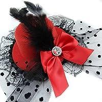 982bb9c924757 GOOTRADES Horquilla de Pelos con Pluma Encaje Lazo Mini Sombrero de Copa de  Mujer para Fiesta