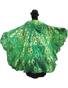 Disfraz de alas de ninfa con diseño de pavo real de Canela, 197x 125cm