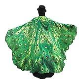 Disfraz de alas de ninfa con diseño de pavo real de Canela, 197x 125cm verde Talla única