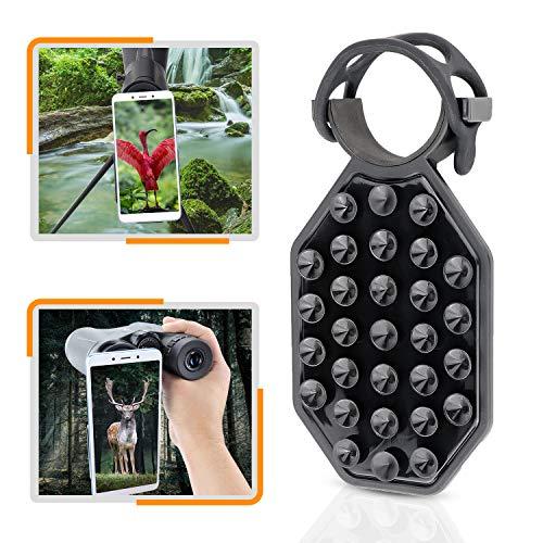 HUTACT Telefon Handy Adapter, Silikonsaugnapf-Teleskop Handy Halterung für die meisten Handys geeignet, kompatibel mit Fernglasp & Spektiv, Schnelle Installation & Keine Kratzer (Große Größe)