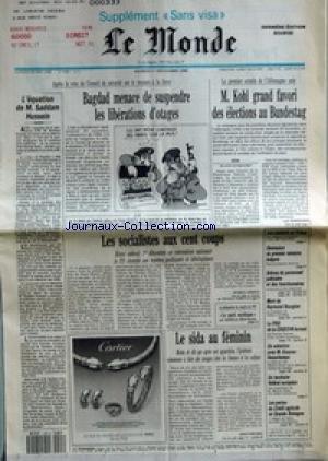 MONDE (LE) [No 14260] du 01/12/1990 - L'EQUATION DE M. SADDAM HUSSEIN - BAGDAD MENACE DE SUSPENDRE LES LIBERATIONS D'OTAGES - LES SOCIALISTES AUX CENT COUPS PAR PATRICK JARREAU - LE PARTI MYTHIQUE PAR MIREILLE BERTRAND - LE SIDA AU FEMININ PAR JEAN-YVES NAU - M. KOHL GRAND FAVORI DES ELECTIONS AU BUNDESTAG PAR LUC ROSENZWEIG - LES COMBATS AU TCHAD - DEMISSION DU PREMIER MINISTRE BULGARE - GREVES DU PERSONNEL JUDICIAIRE ET DES FONCTIONNAIRES - MORT DE RAYMOND BOURGINE - LE PDG DE LA COGEDI