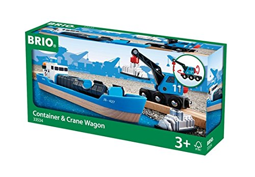 BRIO World 33534 - Containerschiff mit Kranwagen