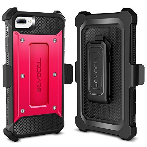 iPhone 7 Plus Case / iPhone 6 Plus Case, Evocel [Explorer Series] Premium Hybrid Protector [Dual Layer][Belt Swivel Clip] For iPhone 7 Plus / iPhone 6 Plus & 6s Plus, Red (EVO-IPH7PLUS-ZZ03) Pink