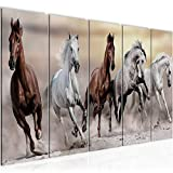 Bilder Pferde Wandbild 150 x 60 cm Vlies - Leinwand Bild XXL Format Wandbilder Wohnzimmer Wohnung Deko Kunstdrucke Braun 5 Teilig - MADE IN GERMANY - Fertig zum Aufhängen 014156a