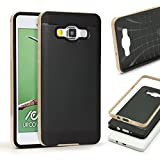 Urcover Samsung Galaxy S6 Edge Plus Handy-Hülle [ Carbon Optik ] Hybrid 2 teiliges Case GOLD TPU PC Cover Case Etui Schutz-Hülle Handyschutz