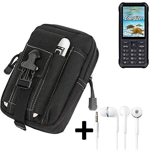 K-S-Trade Gürteltache für Energizer H20 Gürtel Tasche Schutzhülle Handy Schutz Hülle Smartphone Tasche Outdoor Handyhülle schwarz inkl. Extrafächer + Kopfhörer