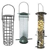Heritage Deluxe Wild Bird hängenden Futterspendern Set–Peanut Feeder, Fat Ball Feeder-& Große Futterstation für Samen