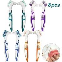 Hatisan-Pro 8Pcs Cepillos para Dentadura, Cepillo para Prótesis para Limpieza de Dientes Falsos Cepillo de Dientes.