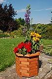 Pflanzkasten, Blumenkasten, Blumenkübel rund aus massivem Holz, für den Garten, Farbe:Braun