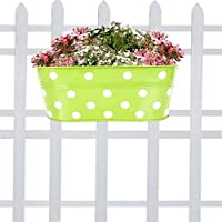 TrustBasket Dotted Oval Railing Planter (Green)