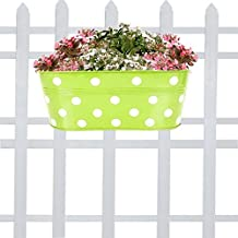 Trust Basket Dotted Oval Railing Planter - Green