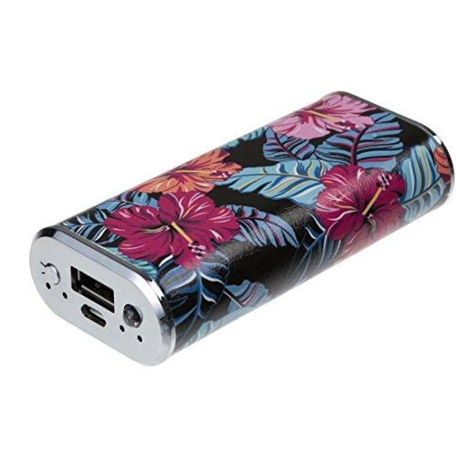 Trendz Modische Powerbank mit 2000mAh-Akku, aus PU-Leder, für Android und Apple Smartphones, Tablets und MP3-Geräte Psychadelic Floral 4000 mAh