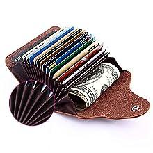 Kreditkarten-Etui, Visitenkarten-Etui, Weiches Rindsleder Kreditkartentasche, Visitenkartenbox, Visitenkartenmappe, Kartenaufbewahrung für Herren und Damen, Hellbraun