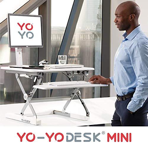 Yo-Yo DESK MINI (BLANCO) - Escritorio de pie ajustable en altura con mayor venta [68cm de ancho].