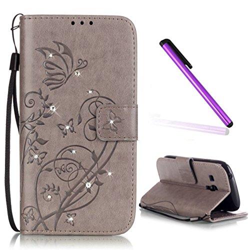 EMAXELERS Galaxy S3 Mini Hülle Glitzer Bling Schmetterling Schutzhülle Ledertasche LederHülle HandyHülle Slim Flip Soft Case Etui Hülle für Samsung Galaxy S3 Mini,Gray Butterfly with Diamond