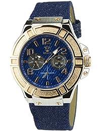 Bellos Herrenuhr Blau Quartz Stahl Armband Jean