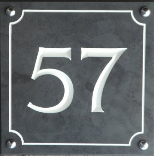 Incisione, in ardesia, colore: nero con bordi-Numero civico (da 1