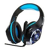 Gaming Headset für PS4 / PC mit Mikrofon, Stereo Bass Surround Noise Cancelling Kopfhörer, 3,5 mm Stecker mit Klettverschluss Kabelbinder Weiche Über-Ohr-Pads für iPhone / Samsung / LG / Xiaomi (Blue)