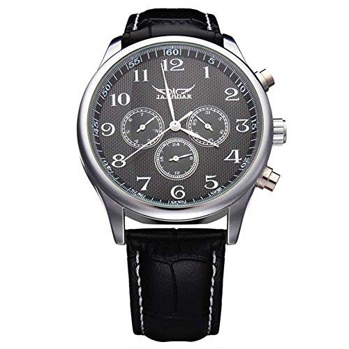 Gute Vintage Hommes Casual mécanique automatique de montre-bracelet cadran noir PU Sangle old-fashion