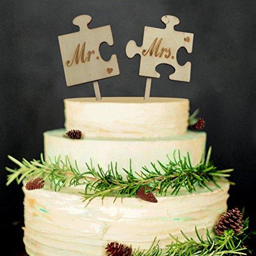 Veewon Hochzeitstorte Topper Herr Frau Brief Holz Kuchen Topper Sticks Hochzeit Dekor Favor (Brief E-hochzeitstorte Topper)