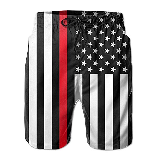 Men's Thin Red Line American Flag Summer Beach Shorts Leisure Quick Dry Swimming Pants Medium -