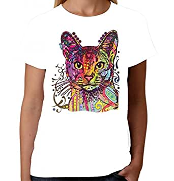 Velocitee Ladies T-Shirt Psychedelic Cat A18489 White S