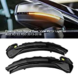 2Pcs LED Dynamic Turn Signal Light Side Rear Mirror Indicator for A3 S3 RS3 8V 2013-2019 (Black Shell)