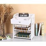 Bricolaje impermeable pantalla de almacenamiento de estantería de madera estantería con el cajón en color blanco 45* 25* 50cm