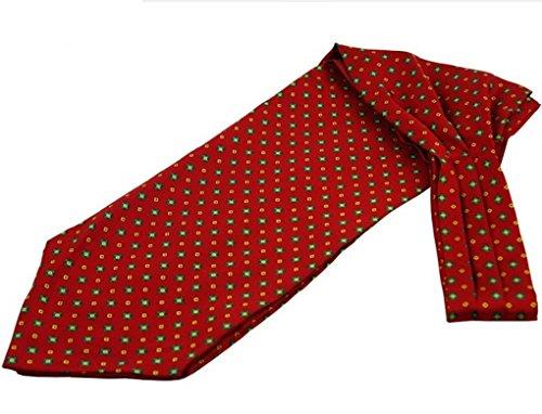 Prettystern - Herren Seide Krawattenschal + Einstecktuch Ascot Set Business - Rot Karos CV36