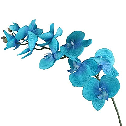 OurWarm 1 Silk Artificial Flowers Aqua Blue Phalaenopsis Orchid Flower Wedding Party Home Garden