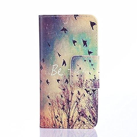 Beiuns Étui en Simili cuir pour Samsung Galaxy S4 Mini Housse Coque - N112 L'hirondelles s'envole (Be free)