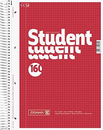 Brunnen 1067982 Notizblock / Collegeblock Student (A4, kariert, 70 g/m², 160 Blatt)