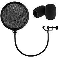 Zacro Estudio Giratorio de Micrófono Pop Filtro para Grabar,Cantar. Con Dos Espumas para Micrófono. 6 Pulgados y Negro