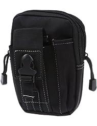 Bolsa de cintura de tactica de Molle - SODIAL(R)Bolsa de cintura de tactica de Molle de deporte al aire libre de hombre caja del telefono movil de monedero y de paquete para telefono Negro
