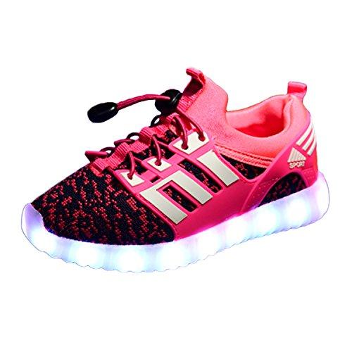 Yeeper LED leuchtende Bunte Sneaker Turnschuhe Unisex Kinder Jungen Mädchen USB Auflade Sportschuhe leichte Schuhe 1832 Pink 31 (Kinder Halloween Lädt)