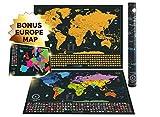 Rubbelkarte XXL Edition - Eine extra großes personalisiertes Weltkartenposter + Bonus-Rubbelkarte von Europa. Enthält eine personalisierte Deluxe-Geschenktube und 2 detaillierte Karten (Weltkarte, Europakarte) mit Hauptstädten, leuchtenden Farben, versteckten ikonischen Wahrzeichen, Weltwundern, umrissenen US-Bundesstaaten und allen Länderflaggen. Geschenk-Paket enthält präzises Rubbelwerkzeug und Reiseerinnerungsaufkleber