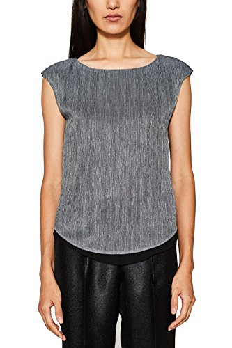 ESPRIT Collection Damen Bluse 117EO1F012, Grau (Medium Grey 035), 38 (Medium Grey Collection)