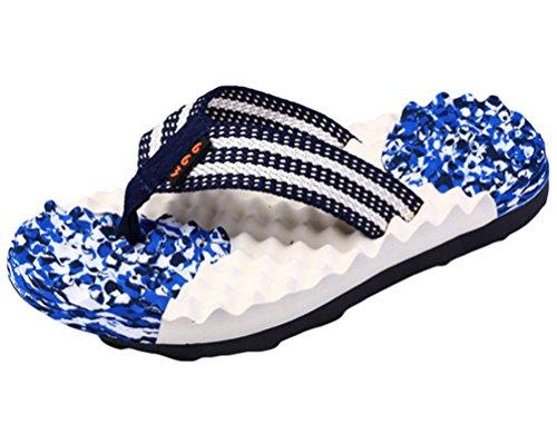 Yiiquan Herren Sommer Zehentrenner Massage Sandalen Pantoletten Strand Flip Flop Marineblau